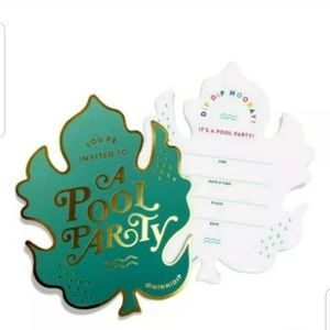 Pool party invitations set of 3 Goldfoil palm tree